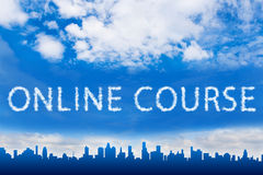 Online course text on cloud Stock Photos