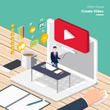 Online Course. Vector e-learning concept create video in flat style digital content and online webinar how to make money with video Stock Image