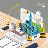 Online Course. Vector e-learning concept in flat style - digital content and online architecture Stock Photography