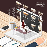 Online Course. Vector e-learning concept in flat style - digital content coffee type.electronic learning process, awards winning and knowledge elements Stock Images