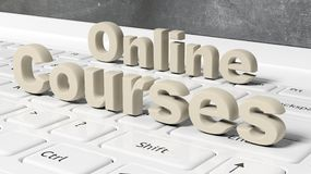 Online Courses 3D text on laptop keyboard. With blackboard on screen Royalty Free Stock Image