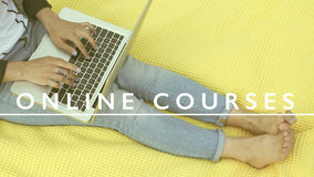 Online courses e-learning. Online courses education e-learning concept educational background Stock Photography