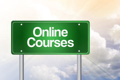 Online Courses Green Road Sign Stock Photos