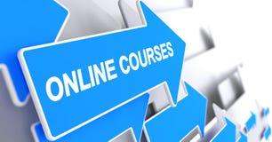 Online Courses - Message on Blue Arrow. 3D. Stock Photos