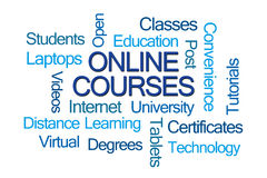 Online Courses Word Cloud. On White Background stock photography