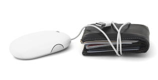 Online Credit Card Debt. Credit cards in a wallet, tied to a computer mouse Royalty Free Stock Photos