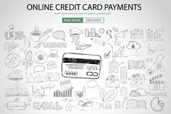 Online credit card payment concept with Doodle design style Stock Photo