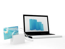 Online Credit Card Purchase. Laptop with blue credit card - 3D Render Royalty Free Stock Photos
