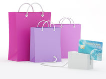 Online Credit Card Purchase. Shopping bags with blue credit card - 3D Render Stock Photos