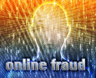 Online crime. Cyber crime online fraud identity theft illustration Royalty Free Stock Photo
