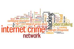 Online crime. Internet crime (hacking, stalking and malware) issues and concepts word cloud illustration. Word collage concept Royalty Free Stock Image
