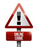Online crime warning road sign concept. Illustration design Stock Images