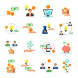 Crowdfunding Finance Flat Icons Collection. Online crowdfunding alternative finance crowdsourcing money raising for projects via internet flat icons symbols Royalty Free Stock Photos