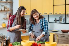 Online culinary course home cooking family leisure. Online culinary course. Home cooking. Family leisure in kitchen. Mother and daughter watching food recipe stock images