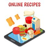 Online Culinary Recipes Isometric Composition. With kitchen equipment, vegetables, eggs, milk on mobile device screen vector illustration Stock Photos