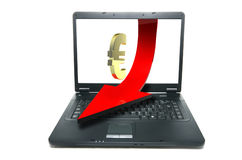 Online currency. Euro sign coming out of notebook screen Stock Images
