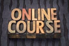 Online cursusbanner in letterzetsel houten type stock afbeeldingen