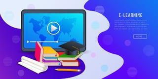 Online cursussen, e-lerend platformbanner met tabletcomputer, videospeler, boeken, potlood en graduatie GLB royalty-vrije illustratie