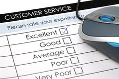 Online customer service satisfaction survey. Tick placed in excellent checkbox on customer service satisfaction survey form with computer mouse Stock Image