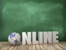 ONLINE 3D Word with Globe World on Chalkboard Background. High Quality 3D Rendering vector illustration