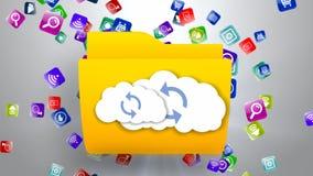Online-datalagring smartphonen surfar på molnet i himmel vektor illustrationer