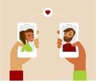 Online-datera app-begrepp Arkivfoto