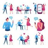 Online-datera par Romantiskt möte för man och för kvinna, perfekt matchinternet som daterar pratstund och blindträffservicevektor stock illustrationer