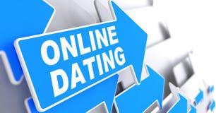 Online Daterend op het Blauwe Teken van de Richtingspijl Royalty-vrije Stock Afbeeldingen