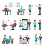 Online daterend reeks, mensen die liefde het gebruiken vinden daterend websites en app op smartphones en computers vectorillustra royalty-vrije illustratie