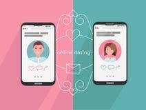 Online daterende man en vrouwenapp pictogrammen op het telefoonscherm Internetverbinding tussen paar en hun smartphones Profielen stock illustratie