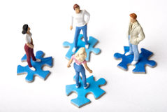 Online dating. Miniature figurine of people meeting and socializing, concept for social network and dating Stock Photos