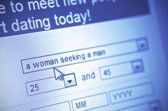 Online dating. Close-up of dating web page on computer screen Stock Images