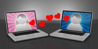 Online Dating. 2 Laptops with male and female avatars and hearts floating between them Royalty Free Stock Photography
