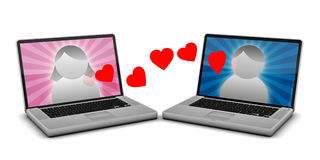 Online Dating. 2 Laptops with male and female avatars and hearts floating between them Stock Photography