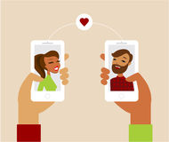 Online dating app concept. Flat vector illustration Stock Photo