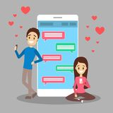Online dating app. Virtual relationship and love. Online dating app concept. Virtual relationship and love. Communication between people through network on the royalty free illustration