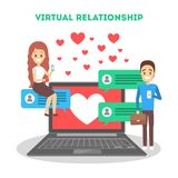 Online dating app. Virtual relationship and love. Online dating app concept. Virtual relationship and love. Communication between people through network on the stock photography