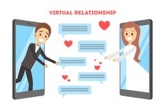 Online dating app. Virtual relationship and love. Online dating app concept. Virtual relationship and love. Communication between people through network on the stock illustration