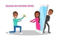 Online dating app. Virtual relationship and love. Online dating app concept. Virtual relationship and love. Couple communication through network on the royalty free illustration