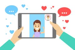 Online dating app. Virtual relationship and love. Online dating app concept. Virtual relationship and love. Video communication between people through network stock illustration