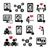 Online dating apps, couples on date vector icons set royalty free illustration