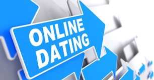 Online Dating on Blue Direction Arrow Sign. Online Dating on Direction Sign - Blue Arrow on a Grey Background Royalty Free Stock Images