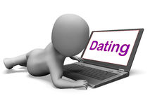 Online Dating Character Laptop Shows Romance. Online Dating Character Laptop Showing Romance And Web Love Stock Photo