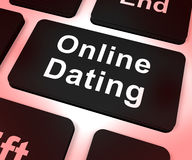 Online Dating Computer Key Showing Romance And Web Love Stock Photos