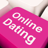 Online Dating Computer Key Showing Romance And Web Love Stock Image