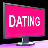Online Dating Computer Shows Romance Date And Web Love. Online Dating Computer Showing Romance Date And Web Love Stock Photos
