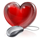 Online dating concept. Illustration of a computer mouse connected to a red heart symbol, concept for online dating, romance or similar Stock Photo