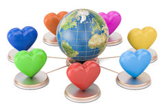 Online dating concept. Earth globe with colored hearts, 3D rende Stock Image