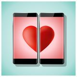 Online dating concept Love has no boundaries with two smartphones matching red heart on screen. Vector , illustration Stock Photos