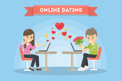 Online dating concept. Man and woman with laptops. Giving rose Royalty Free Stock Images